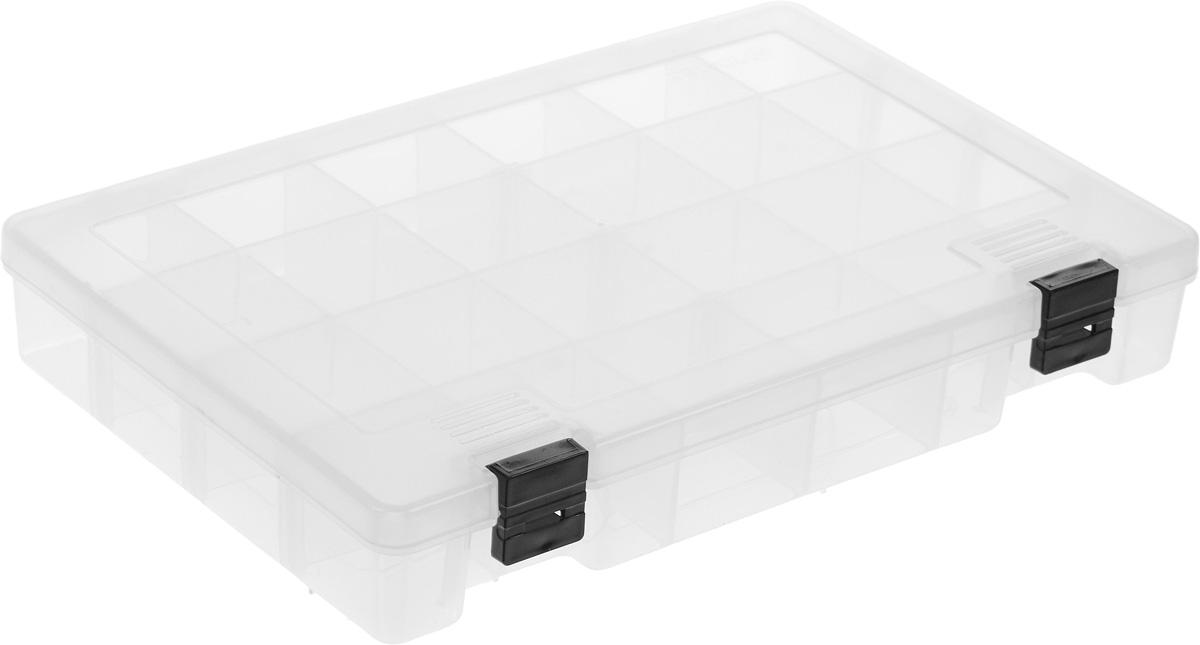 Коробка для мелочей Trivol, цвет: прозрачный, 27,4 х 18,8 х 4,5 см498015_прозрачныйКоробка для мелочей Trivol, выполненная из прочного полипропилена (пластика), отлично подойдет для хранения канцелярских принадлежностей дома или в офисе, аксессуаров для шитья и рукоделия, болтов и гаек, а также принадлежностей для рыбалки и других видов хобби. Изделие имеет прочные съемные разделители, с помощью которых можно регулировать количество ячеек. Прозрачный материал позволяет видеть содержимое. Крышка коробки плотно закрывается на 2 защелки. Коробка легко моется и чистится. Она поможет держать ваши вещи в порядке. Размер ячейки: 4,5 х 4,5 х 4 см.