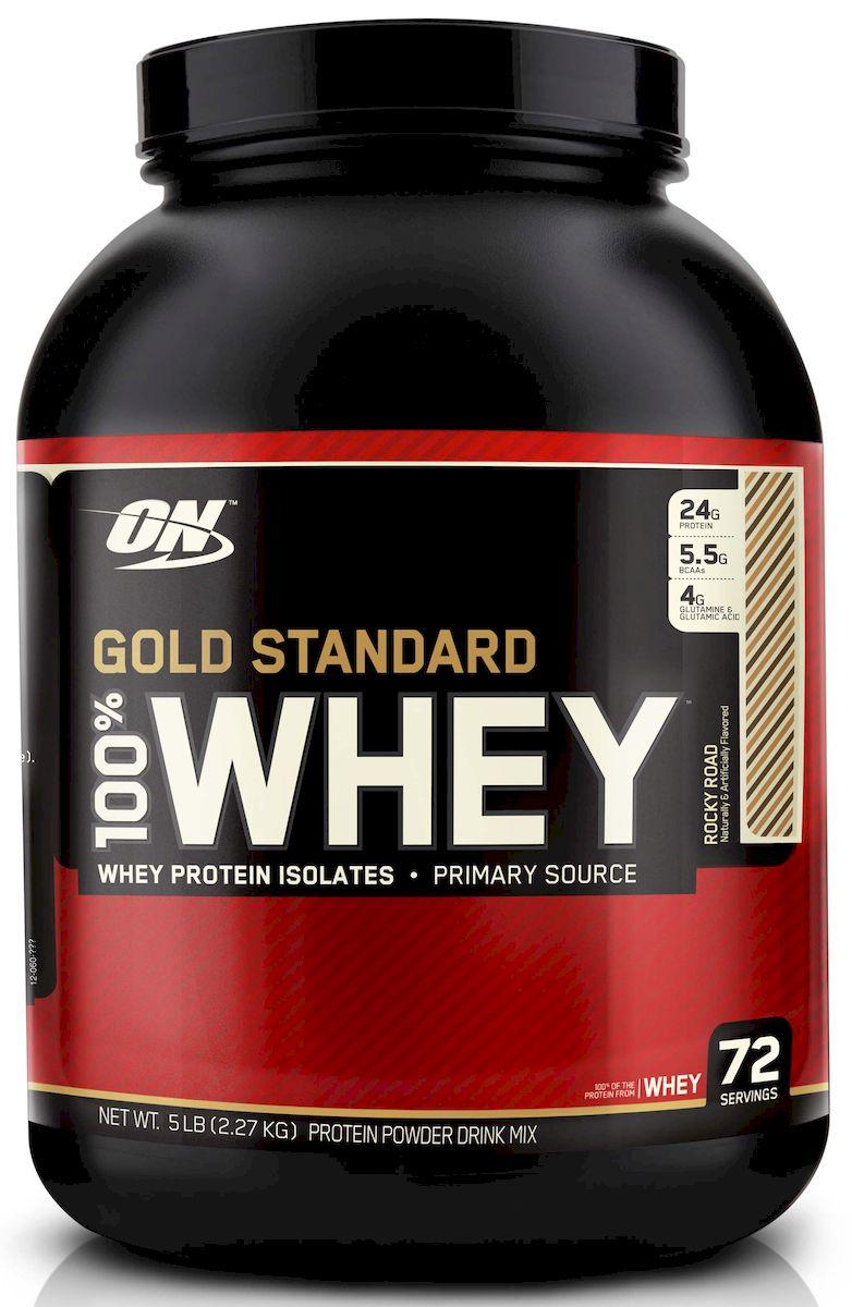 Протеин Optimum Nutrition 100% Вей Голд. Rocky Road, 2268 гON2789ON 100% Whey Gold Standard – этот сывороточный протеин является самым популярным и качественным протеином на протяжении уже многих лет. Сывороточный протеин, которому доверяют миллионы спортсменов по всему миру от любителей до титулованных профессионалов. ON 100% Whey Gold Standard 10lb своего рода звезда в индустрии спортивного питания! ON 100% Whey Gold Standard 10lb был удостоен награды Лучшая спортивная добавка года и Протеин года в 2005, 2006, 2007, 2008, 2009 и 2010 годах. Ни один другой продукт не имеет столько наград! Стоит отдать должное компании Optimum Nutrition давшей миру поистине высококачественный продукт, одним словом стандарт на который в последующем равнялись все производители сывороточных протеинов. Запатентованная смесь ON 100% Whey Gold Standard 10lb включает в себя: микро-фильтрованный изолят сывороточного протеина ионообменный изолят сывороточного протеина ультрофильтрованный концентрат сывороточного протеина Hydro Whey...