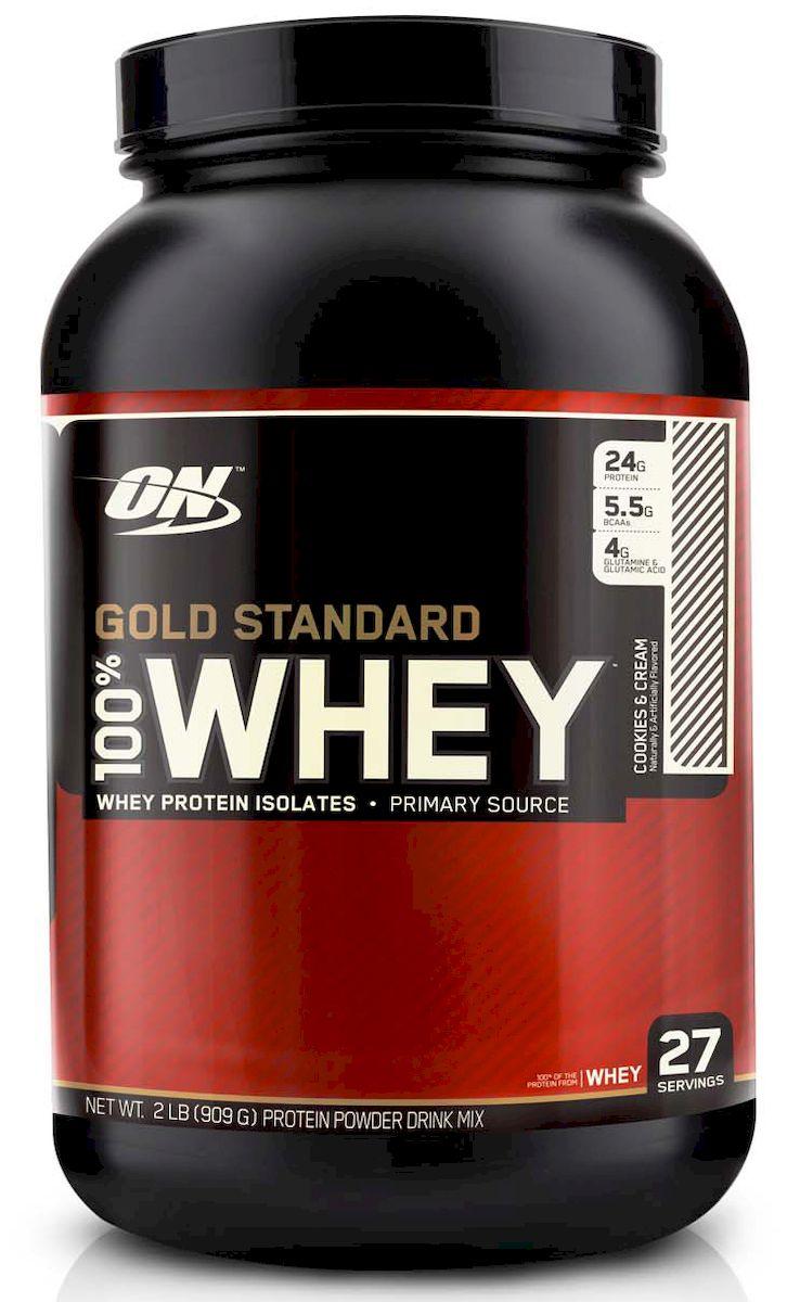 Протеин Optimum Nutrition 100% Вей Голд. Печен-Крем, 908 гON8638ON 100% Whey Gold Standard – этот сывороточный протеин является самым популярным и качественным протеином на протяжении уже многих лет. Сывороточный протеин, которому доверяют миллионы спортсменов по всему миру от любителей до титулованных профессионалов. ON 100% Whey Gold Standard 10lb своего рода звезда в индустрии спортивного питания! ON 100% Whey Gold Standard 10lb был удостоен награды Лучшая спортивная добавка года и Протеин года в 2005, 2006, 2007, 2008, 2009 и 2010 годах. Ни один другой продукт не имеет столько наград! Стоит отдать должное компании Optimum Nutrition давшей миру поистине высококачественный продукт, одним словом стандарт на который в последующем равнялись все производители сывороточных протеинов. Запатентованная смесь ON 100% Whey Gold Standard 10lb включает в себя: микро-фильтрованный изолят сывороточного протеина ионообменный изолят сывороточного протеина ультрофильтрованный концентрат сывороточного протеина Hydro Whey...