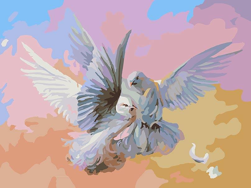Живопись на холсте Белоснежка Полет белых голубей, 30 см х 40 см159-ASКартина раскрашивается без смешивания красок. Все необходимые цвета красок есть в комплекте. Просто закрашивайте участки красками с соответствующим номером. В набор также входит холст, натянутый на деревянный подрамник, три кисточки, крепеж для подвешивания картины и контрольный лист. Количество цветов: 29.