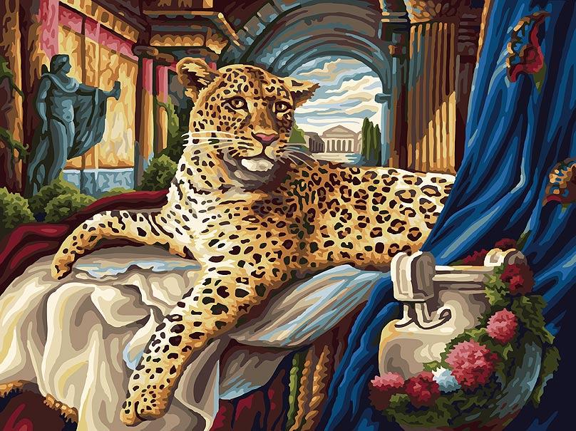 Живопись на холсте Белоснежка Римский леопард, 30 см х 40 см165-ASКартина раскрашивается без смешивания красок. Все необходимые цвета красок есть в комплекте. Просто закрашивайте участки красками с соответствующим номером. В набор также входит холст, натянутый на деревянный подрамник, три кисточки, крепеж для подвешивания картины и контрольный лист. Количество цветов: 30.