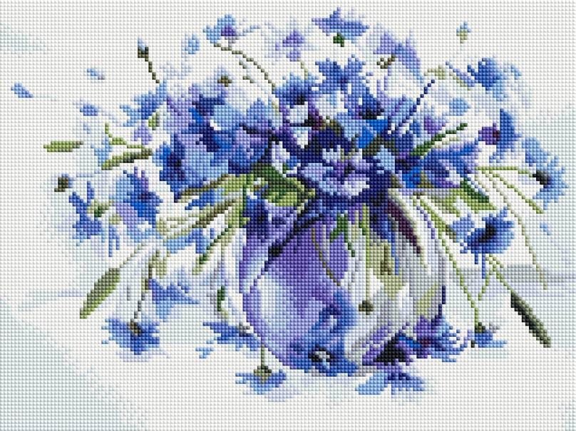 Мозаика на подрамнике Белоснежка Василечки-васильки, 30 х 40 см319-ST-Sнабора для творчества Алмазная мозаика Основа мозаичной картины - холст на подрамнике усиленный листом оргалита. тип камней: квадратные 2,5х2,5 мм. Количество цветов: 27 . 100 % заполнение. Размер готовой работы: 30х40 см.