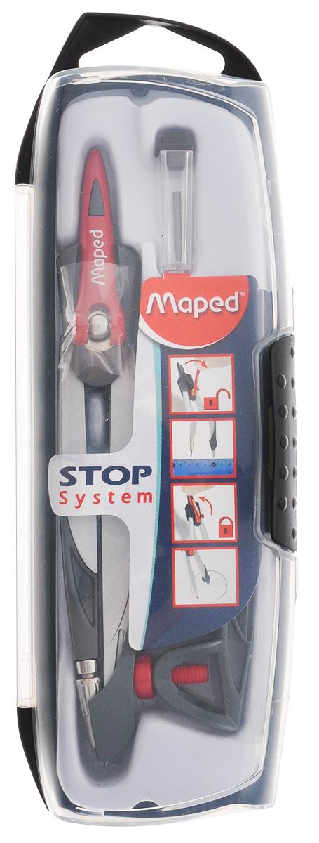 Maped Готовальня Stop System цвет серый 3 предмета196100_серыйГотовальня Maped Stop System подходит для средней школы. Готовальня имеет эксклюзивный дизайн. В набор входят три предмета: циркуль, запасной грифель и универсальный держатель. Запатентованный механизм Stop System фиксирует штанги в нужном положении. Игла с защитным колпачком. Готовальня упакована в ударопрочный пластиковый футляр с подвесом.