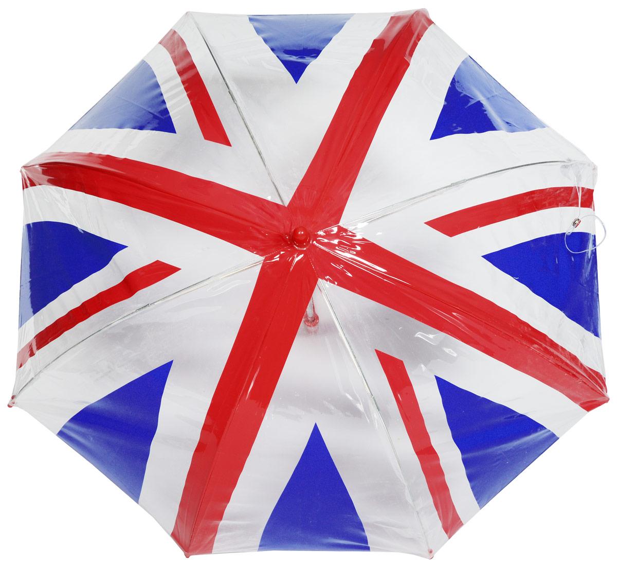 Зонт-трость детский Fulton, механический, цвет: белый, красный, синий. C605-2283C605-2283 UnionJackУдобный механический зонт-трость Fulton даже в ненастную погоду позволит вашему ребенку оставаться стильным. Каркас зонта включает 8 спиц из фибергласса. Стержень изготовлен из прочного алюминия. Купол зонта выполнен из качественного ПВХ. Рукоятка закругленной формы, разработанная с учетом требований эргономики, выполнена из качественного пластика. Зонт механического сложения: купол открывается и закрывается вручную до характерного щелчка.