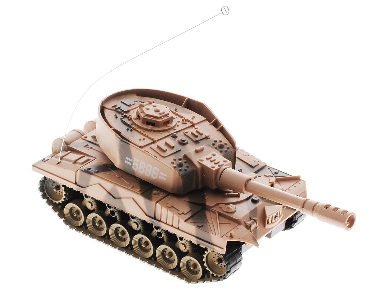 Junfa Toys Танк на радиоуправлении Super Power Panzer5892j_Танк-5896Эффектный танк на радиоуправлении Junfa Toys Super Power Panzer понравится каждому мальчишке, который интересуется военной техникой. Стремительно прорываясь вперед сквозь препятствия, танк издает реалистичные звуки работающего мотора, а во время стрельбы у него загорается огонек в дуле пушки и раздаются звуки мощного выстрела. Игрушка работает от пульта управления и может не только передвигаться назад, вперед, налево и направо, но и поворачивать пушку. Пульт управления работает на частоте 27 MHz. Выглядит модель на удивление реалистично, а уровень ее детализации поражает воображение. Радиоуправляемые игрушки способствуют развитию координации движений, моторики и ловкости. Для работы танка необходимо купить 4 батарейки напряжением 1,5V типа АА (не входят в комплект). Для работы пульта управления необходимо купить 2 батарейки напряжением 1,5V типа АА (не входят в комплект).