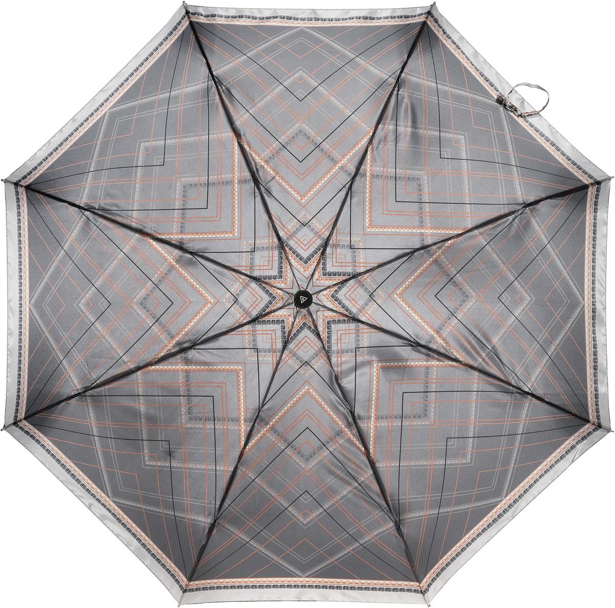 Зонт женский Fabretti, автомат, 3 сложения, цвет: коричневый. L-16106-14L-16106-14Зонт женский Fabretti, облегченный суперавтомат, 3 сложения