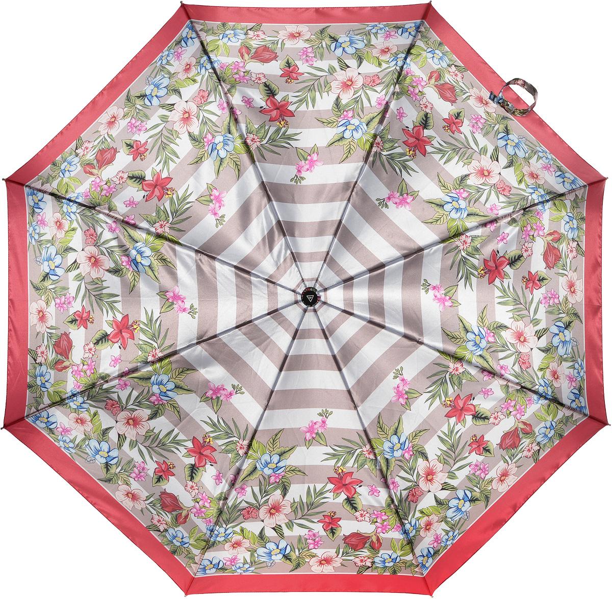 Зонт женский Fabretti, автомат, 3 сложения, цвет: мультиколор. L-16104-13L-16104-13Зонт женский Fabretti, облегченный суперавтомат, 3 сложения