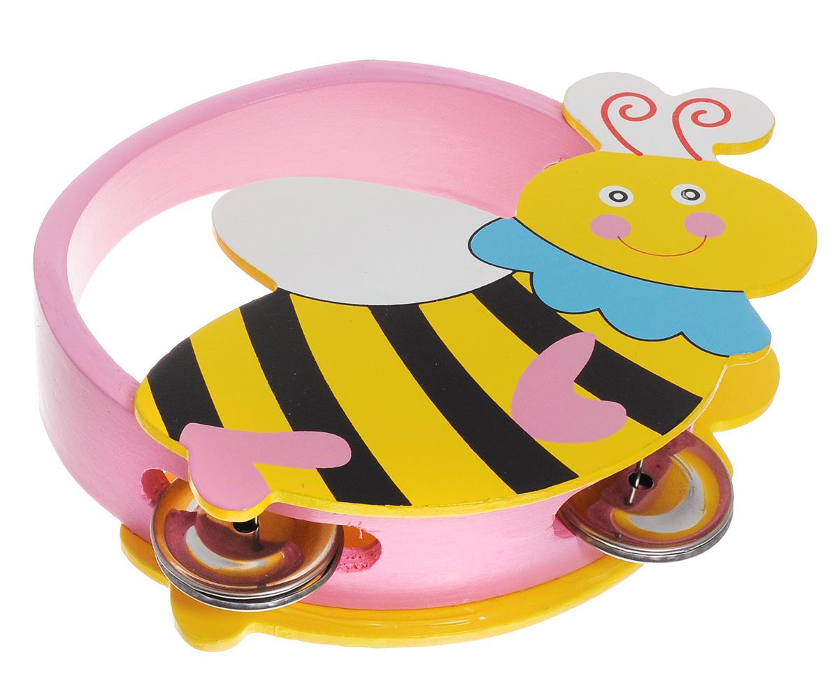 Мир деревянных игрушек Бубен ПчелаД220_пчелаЯркий бубен Мир деревянных игрушек Пчела доставит огромное удовольствие вашему ребенку и вдохновит его к занятию музыкой. Музыкальный инструмент выполнен в оригинальном дизайне: поверхность бубна деревянная, в виде забавной пчелки, а по бокам ободка имеются прорези со вставленными в них металлическими пластинами. Играть на бубне можно двумя способами: встряхивая его или ударяя об его поверхность. Игра с бубном способствует развитию звуковосприятия, чувства ритма и музыкальных способностей у ребенка.