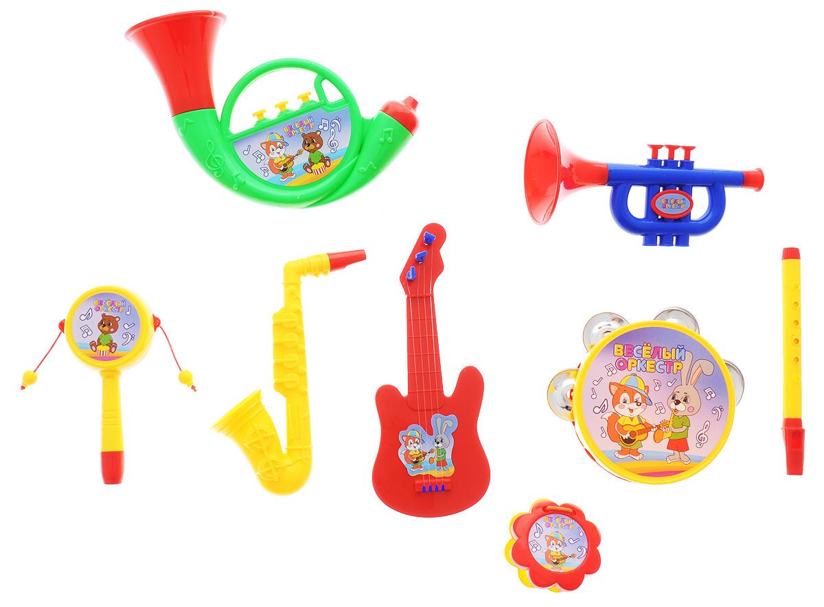 ABtoys Набор музыкальных инструментов Веселый оркестр цвет трубы зеленый 8 предметовD-00021_зеленая трубаНабор музыкальных инструментов ABtoys Веселый оркестр привлечет внимание вашего ребенка и позволит ему создать незабываемый концерт. Набор включает бубен, саксофон, трубу, кастаньеты, тубу, флейту, гитару, барабанчик-колотушку. Предметы набора выполнены в яркой цветовой гамме из прочного пластика и оформлены изображениями забавных зверей. Малыш сможет часами играть с набором и придумывать свои веселые мелодии. Порадуйте его таким замечательным подарком!