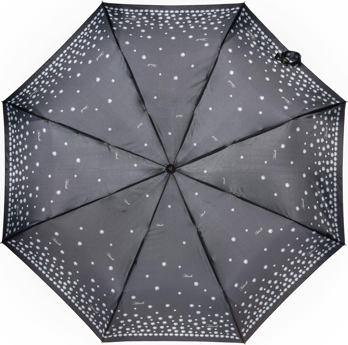 Зонт женский Fabretti, полный автомат, 3 сложения, цвет: серый. S-16103-11
