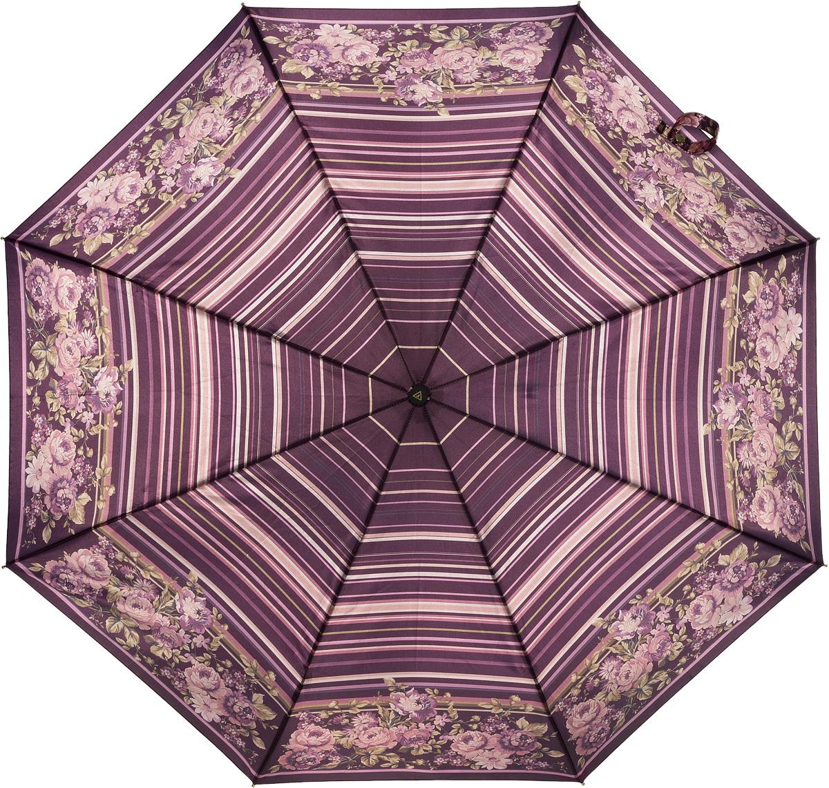 Зонт женский Fabretti, полный автомат, 3 сложения, цвет: мультиколор. S-16103-6S-16103-6Зонт женский Fabretti, суперавтомат, 3 сложения, сатин