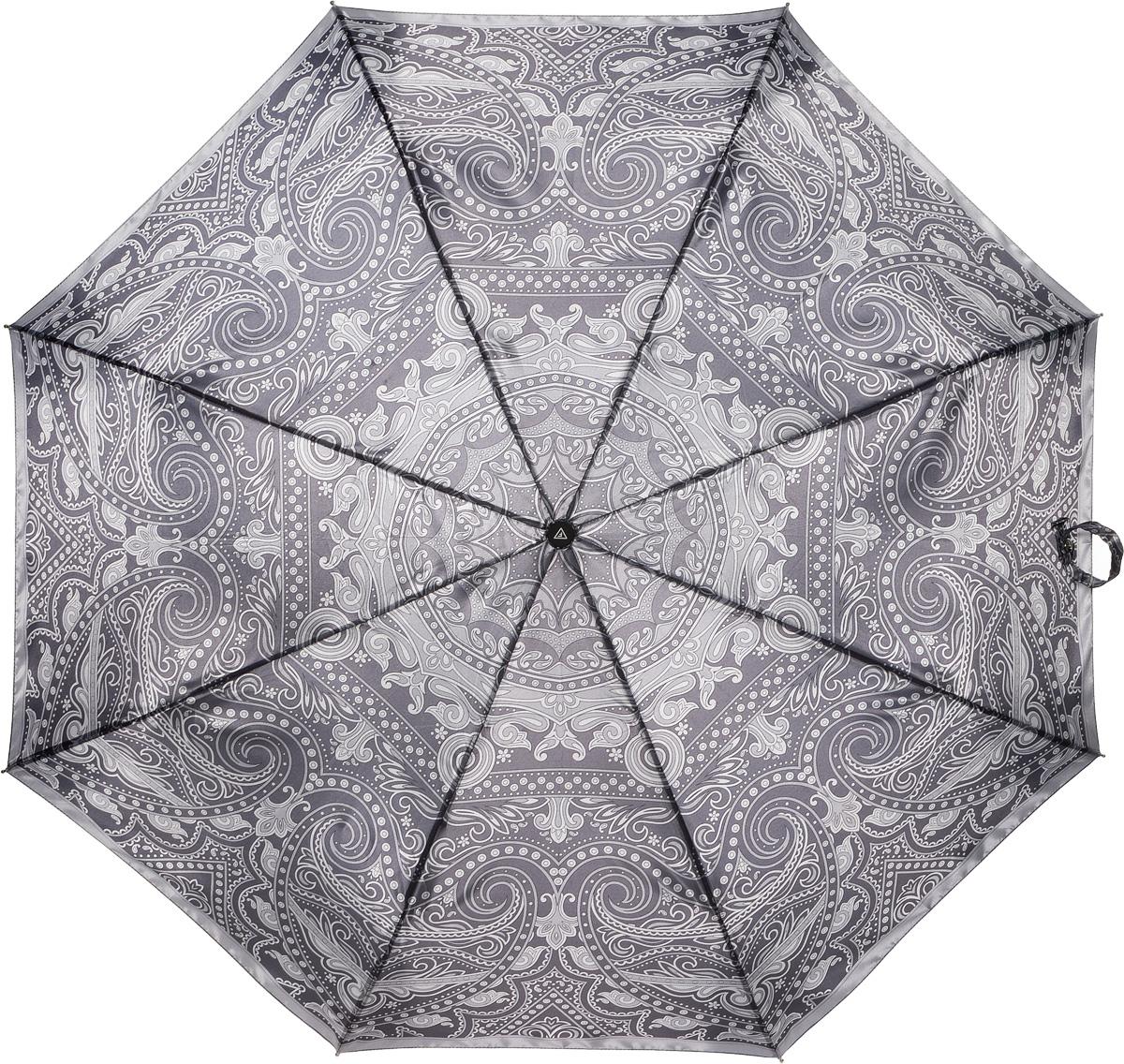 Зонт женский Fabretti, полный автомат, 3 сложения, цвет: серый. S-16100-4S-16100-4Зонт женский Fabretti, суперавтомат, 3 сложения, сатин