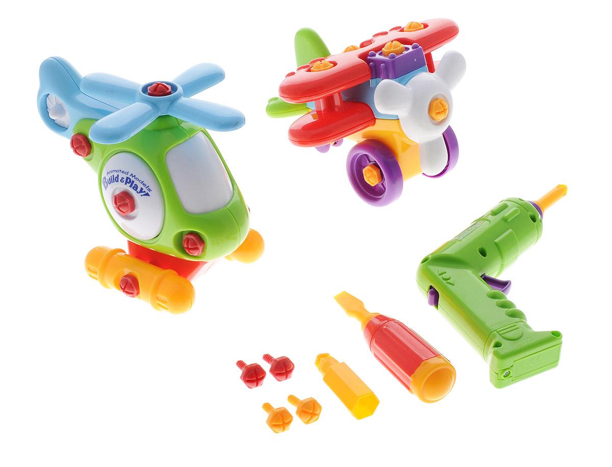 Keenway Конструктор Аэроплан и вертолет11863С помощью конструктора Аэроплан и вертолет, предназначенного для детей от 3 лет, ваш ребенок сможет собрать аэроплан и вертолет. Детали конструктора не имеют острых углов, благодаря чему абсолютно безопасны для детей. Также в комплект с элементами для сборки моделей входят специальные инструменты, облегчающие процесс сборки: отвертка с различными насадками и шуруповерт. Игра с конструктором разовьет у ребенка мелкую моторику рук, воображение, координацию движений, поможет научиться следовать инструкциям.