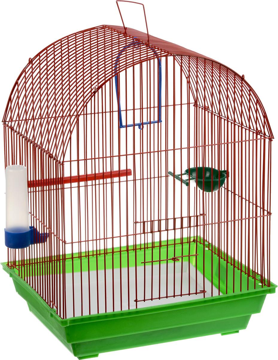 Клетка для птиц ЗооМарк, цвет: салатовый поддон, красная решетка, 35 х 28 х 45 см440_салатовый, красныйКлетка ЗооМарк, выполненная из полипропилена и металла, предназначена для мелких птиц. Вы можете поселить в нее одну или две птицы. Изделие состоит из большого поддона и решетки. Клетка снабжена металлической дверцей, которая открывается и закрывается движением вверх-вниз. В основании клетки находится малый поддон. Клетка удобна в использовании и легко чистится. Она оснащена жердочкой, кольцом для птицы, кормушкой, поилкой и подвижной ручкой для удобной переноски. Комплектация: - клетка с поддоном, - малый поддон; - кормушка; - поилка; - кольцо.