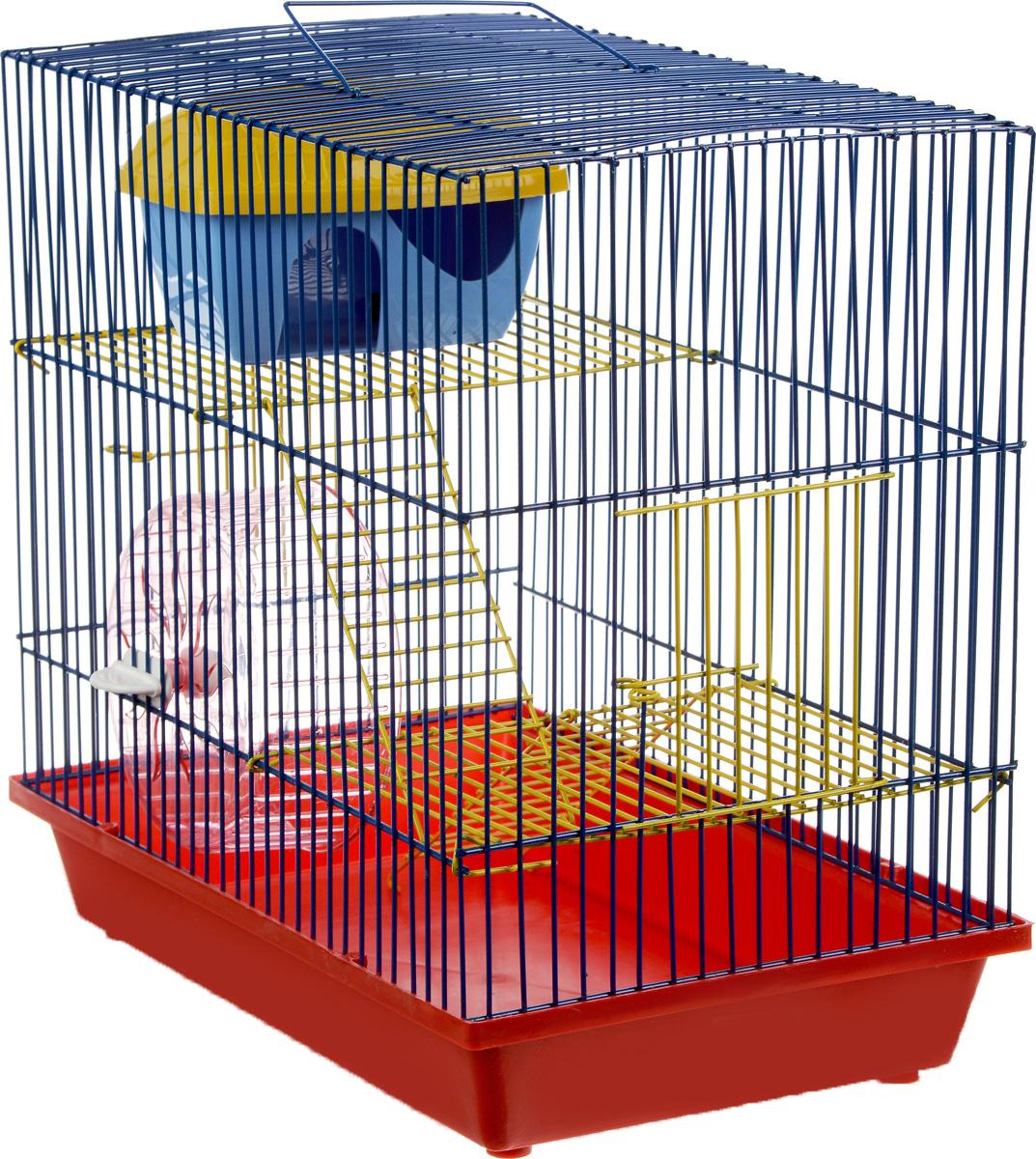 Клетка для грызунов ЗооМарк, 3-этажная, цвет: красный поддон, синяя решетка, желтые этажи, 36 х 23 х 34,5 см. 135ж135ж_красный, синийКлетка ЗооМарк, выполненная из полипропилена и металла, подходит для мелких грызунов. Изделие трехэтажное, оборудовано колесом для подвижных игр и пластиковым домиком. Клетка имеет яркий поддон, удобна в использовании и легко чистится. Сверху имеется ручка для переноски. Такая клетка станет уединенным личным пространством и уютным домиком для маленького грызуна.