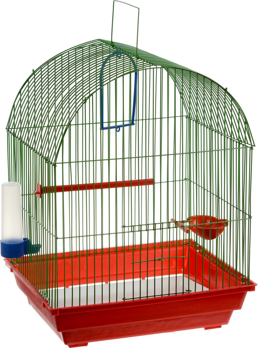 Клетка для птиц ЗооМарк, цвет: красный поддон, зеленая решетка , 35 х 28 х 45 см440_красный, зеленыйКлетка ЗооМарк, выполненная из полипропилена и металла, предназначена для мелких птиц. Вы можете поселить в нее одну или две птицы. Изделие состоит из большого поддона и решетки. Клетка снабжена металлической дверцей, которая открывается и закрывается движением вверх-вниз. В основании клетки находится малый поддон. Клетка удобна в использовании и легко чистится. Она оснащена жердочкой, кольцом для птицы, кормушкой, поилкой и подвижной ручкой для удобной переноски. Комплектация: - клетка с поддоном, - малый поддон; - кормушка; - поилка; - кольцо.