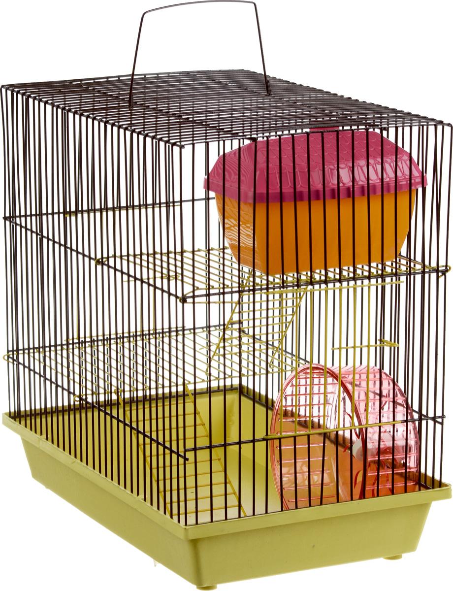 Клетка для грызунов ЗооМарк, 3-этажная, цвет: желтый поддон, коричневая решетка, желтый этаж, 36 х 23 х 34,5 см. 135ж135ж_желтый, коричневыйКлетка ЗооМарк, выполненная из полипропилена и металла, подходит для мелких грызунов. Изделие трехэтажное, оборудовано колесом для подвижных игр и пластиковым домиком. Клетка имеет яркий поддон, удобна в использовании и легко чистится. Сверху имеется ручка для переноски. Такая клетка станет уединенным личным пространством и уютным домиком для маленького грызуна.