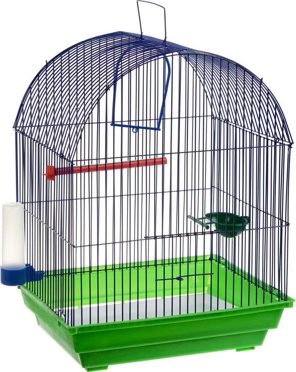 Клетка для птиц ЗооМарк, цвет: зеленый поддон, синяя решетка, 35 х 28 х 45 см440_зеленый, синийКлетка ЗооМарк, выполненная из полипропилена и металла, предназначена для мелких птиц. Вы можете поселить в нее одну или две птицы. Изделие состоит из большого поддона и решетки. Клетка снабжена металлической дверцей, которая открывается и закрывается движением вверх-вниз. В основании клетки находится малый поддон. Клетка удобна в использовании и легко чистится. Она оснащена жердочкой, кольцом для птицы, кормушкой, поилкой и подвижной ручкой для удобной переноски. Комплектация: - клетка с поддоном, - малый поддон; - кормушка; - поилка; - кольцо.