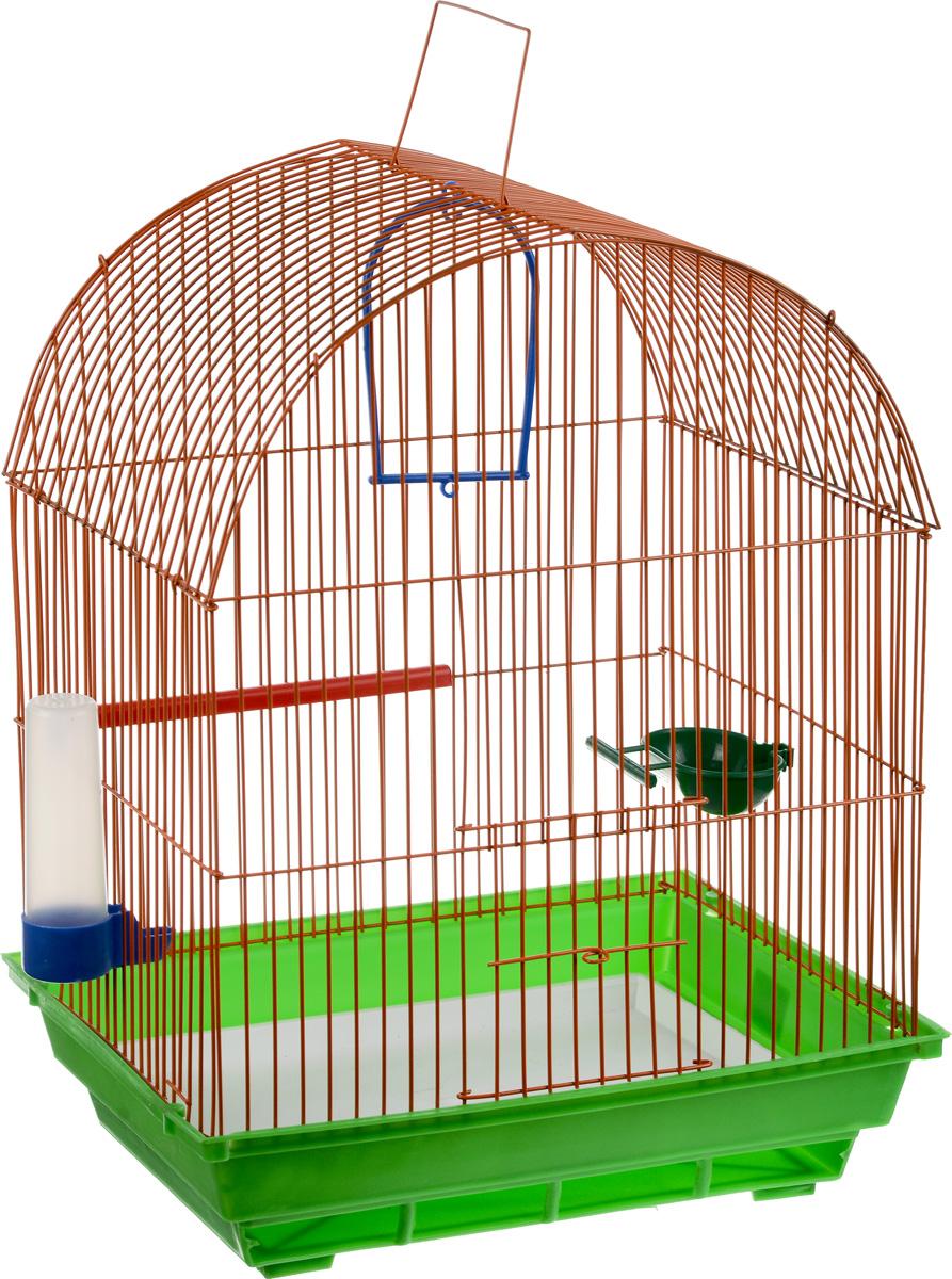 Клетка для птиц ЗооМарк, цвет: зеленый поддон, оранжевая решетка, 35 х 28 х 45 см440_оранжевый, зеленыйКлетка ЗооМарк, выполненная из полипропилена и металла, предназначена для мелких птиц. Вы можете поселить в нее одну или две птицы. Изделие состоит из большого поддона и решетки. Клетка снабжена металлической дверцей, которая открывается и закрывается движением вверх-вниз. В основании клетки находится малый поддон. Клетка удобна в использовании и легко чистится. Она оснащена жердочкой, кольцом для птицы, кормушкой, поилкой и подвижной ручкой для удобной переноски. Комплектация: - клетка с поддоном, - малый поддон; - кормушка; - поилка; - кольцо.