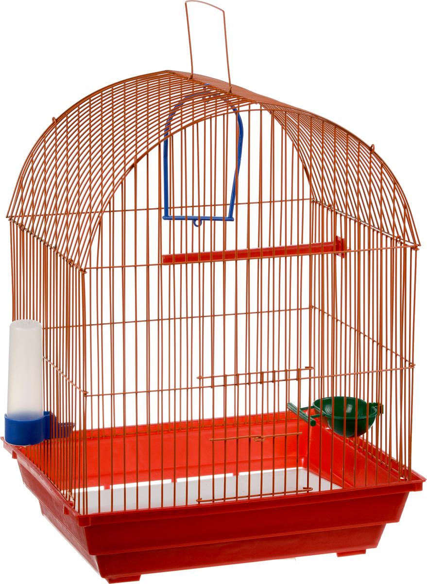 Клетка для птиц ЗооМарк, цвет: красный поддон, оранжевая решетка, 35 х 28 х 45 см440_красный , оранжевыйКлетка ЗооМарк, выполненная из полипропилена и металла, предназначена для мелких птиц. Вы можете поселить в нее одну или две птицы. Изделие состоит из большого поддона и решетки. Клетка снабжена металлической дверцей, которая открывается и закрывается движением вверх-вниз. В основании клетки находится малый поддон. Клетка удобна в использовании и легко чистится. Она оснащена жердочкой, кольцом для птицы, кормушкой, поилкой и подвижной ручкой для удобной переноски. Комплектация: - клетка с поддоном, - малый поддон; - кормушка; - поилка; - кольцо.