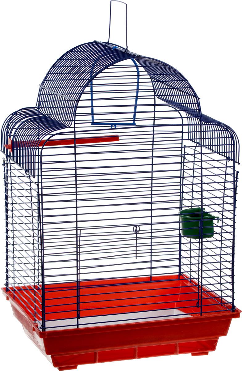 Клетка для птиц ЗооМарк Купола, цвет: красный поддон, синяя решетка, 35 х 29 х 51 см460_красный, синийКлетка ЗооМарк Купола, выполненная из полипропилена и металла, предназначена для мелких птиц. Изделие состоит из большого поддона и решетки. Клетка снабжена металлической дверцей. В основании клетки находится малый поддон. Клетка удобна в использовании и легко чистится. Она оснащена жердочкой, кольцом для птицы, кормушкой и подвижной ручкой для удобной переноски. Комплектация: - клетка с поддоном, - малый поддон; - кормушка; - кольцо; - жердочка.