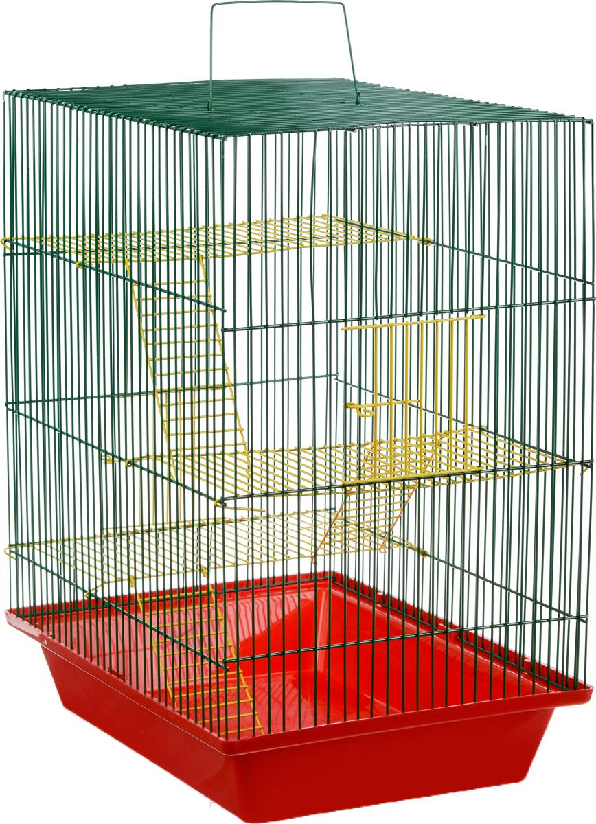 Клетка для грызунов ЗооМарк Гризли, 4-этажная, цвет: красный поддон, зеленая решетка, желтый этаж, 41 х 30 х 50 см. 240ж240ж_красный, зеленый, желтыйКлетка ЗооМарк Гризли, выполненная из полипропилена и металла, подходит для мелких грызунов. Изделие четырехэтажное. Клетка имеет яркий поддон, удобна в использовании и легко чистится. Сверху имеется ручка для переноски. Такая клетка станет уединенным личным пространством и уютным домиком для маленького грызуна.