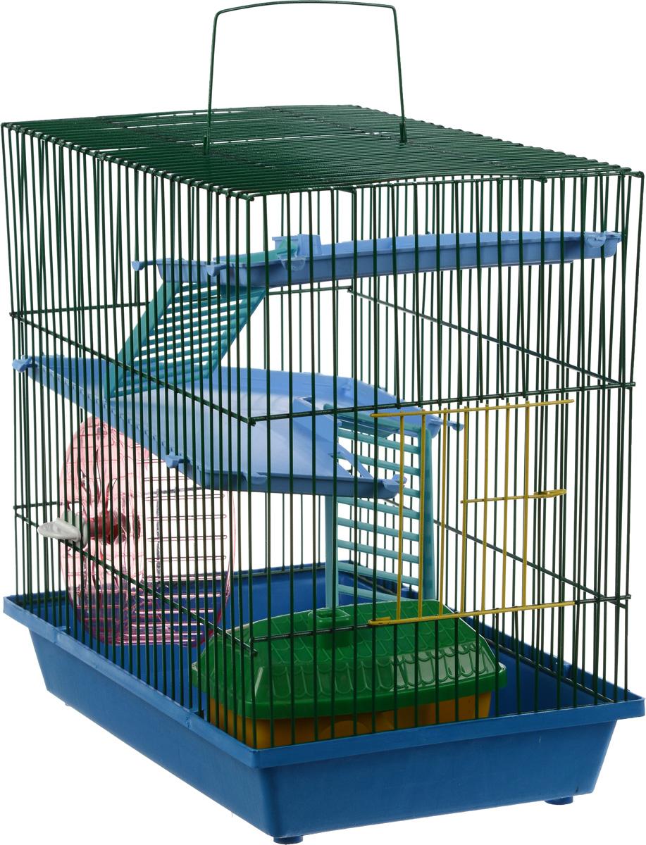 Клетка для грызунов ЗооМарк, 3-этажная, цвет: синий поддон, зеленая решетка, голубые этажи, 36 х 22,5 х 34 см. 135135_синий,зеленыйКлетка ЗооМарк, выполненная из полипропилена и металла, подходит для мелких грызунов. Изделие трехэтажное, оборудовано колесом для подвижных игр и пластиковым домиком. Клетка имеет яркий поддон, удобна в использовании и легко чистится. Сверху имеется ручка для переноски. Такая клетка станет уединенным личным пространством и уютным домиком для маленького грызуна.
