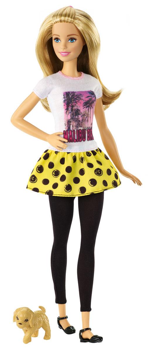 Barbie Кукла Барби с питомцем цвет одежды белый черный желтый