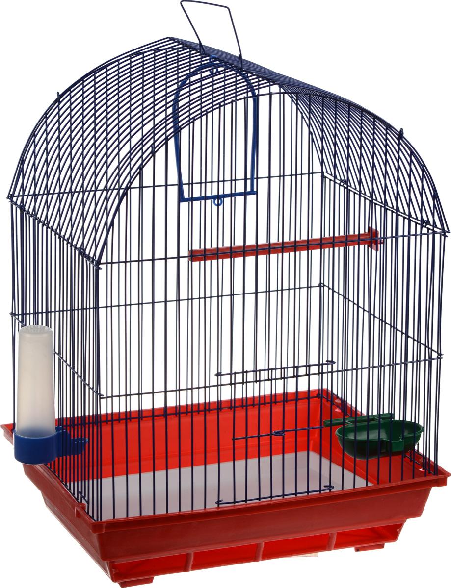 Клетка для птиц ЗооМарк, цвет: красный поддон, синяя решетка, 35 х 28 х 45 см440_красный, синийКлетка ЗооМарк, выполненная из полипропилена и металла, предназначена для мелких птиц. Вы можете поселить в нее одну или две птицы. Изделие состоит из большого поддона и решетки. Клетка снабжена металлической дверцей, которая открывается и закрывается движением вверх-вниз. В основании клетки находится малый поддон. Клетка удобна в использовании и легко чистится. Она оснащена жердочкой, кольцом для птицы, кормушкой, поилкой и подвижной ручкой для удобной переноски. Комплектация: - клетка с поддоном, - малый поддон; - кормушка; - поилка; - кольцо.