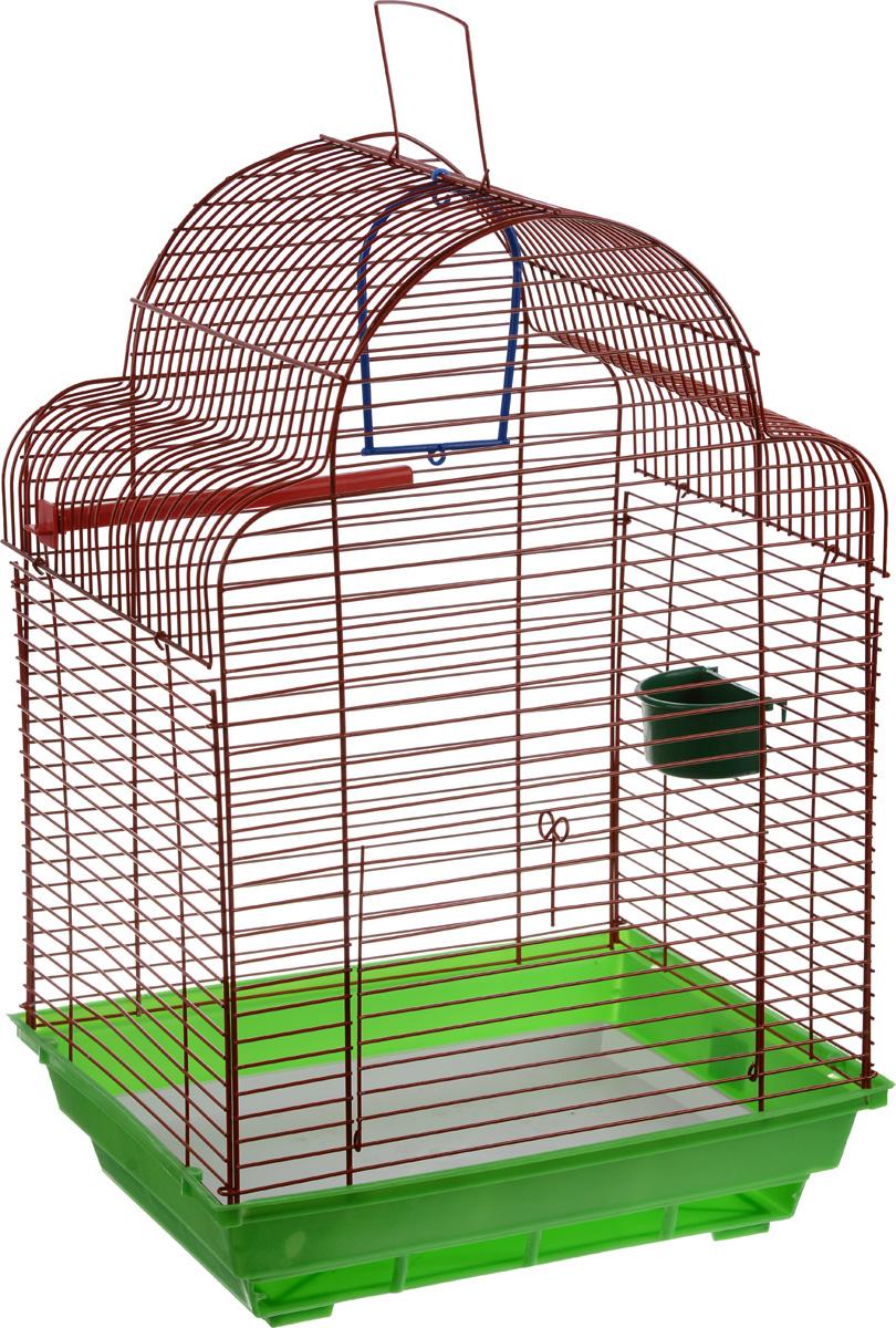 Клетка для птиц ЗооМарк Купола, цвет: зеленый поддон, красная решетка, 35 х 29 х 51 см460_зеленый, красныйКлетка ЗооМарк Купола, выполненная из полипропилена и металла, предназначена для мелких птиц. Изделие состоит из большого поддона и решетки. Клетка снабжена металлической дверцей. В основании клетки находится малый поддон. Клетка удобна в использовании и легко чистится. Она оснащена жердочкой, кольцом для птицы, кормушкой и подвижной ручкой для удобной переноски. Комплектация: - клетка с поддоном, - малый поддон; - кормушка; - кольцо; - жердочка.