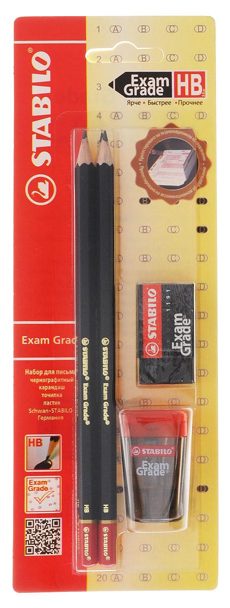 """Набор Stabilo Exam Grade, 4 предмета288/6-1ВSTABILO micro 288 """"Exam Grade"""" чернографитный карандаш. Прочный утолщенный грифель не ломается и не крошится при письме. Мягкий грифель, увеличенного диаметра, 2,5 мм, обеспечивает четкую, насыщенную линию, которая четко распознается при сканировании, Повышенная прочность к поломкам предотвращает неприятные сюрпризы на экзамене. Стильный дизайн, достойный внимания. Точилка Exam Grade. Размеры: ширина 28 x диаметр 25 x высота 45 mm Для карандашей диаметром до 8 мм С прозрачным контейнером Лезвие из высокоуглеродистой стали, твердость которой позволяет добиться такой высокой степени заточки, чтобы карандаш затачивался очень легко, оставляя тончайшую стружку Особое винтовое крепление лезвия предотвращает его расшатывание. Защита лезвия от ржавчины. Ластик Exam Grade. Легко и без следов удаляют с экзаменационных листов надписи, сделанные карандашом Micro 288 Exam Grade, поэтому при сканировании виден только окончательный ответ. Не оставляют..."""