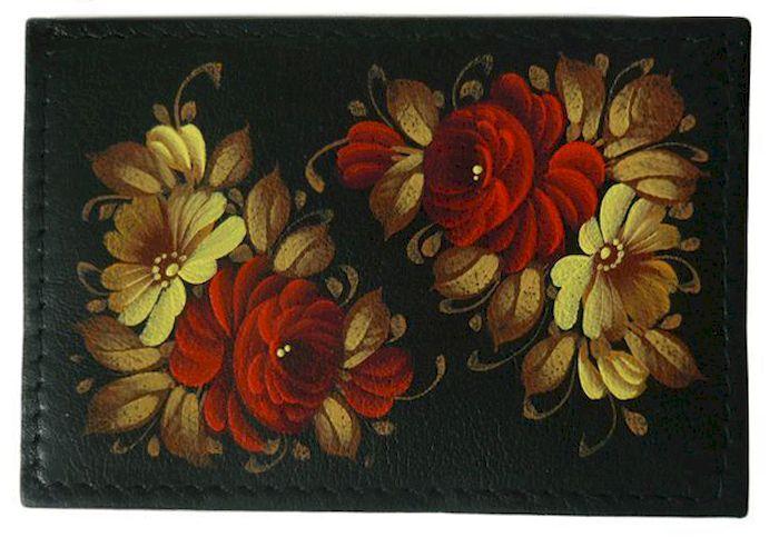 Чехол для проездного Феодора Розы, цвет: черный. Ручная роспись. ЧП-ЦИ-УКЧП-ЦИ-УКЧехол для проездного выполнен из натуральной кожи, расписан вручную.