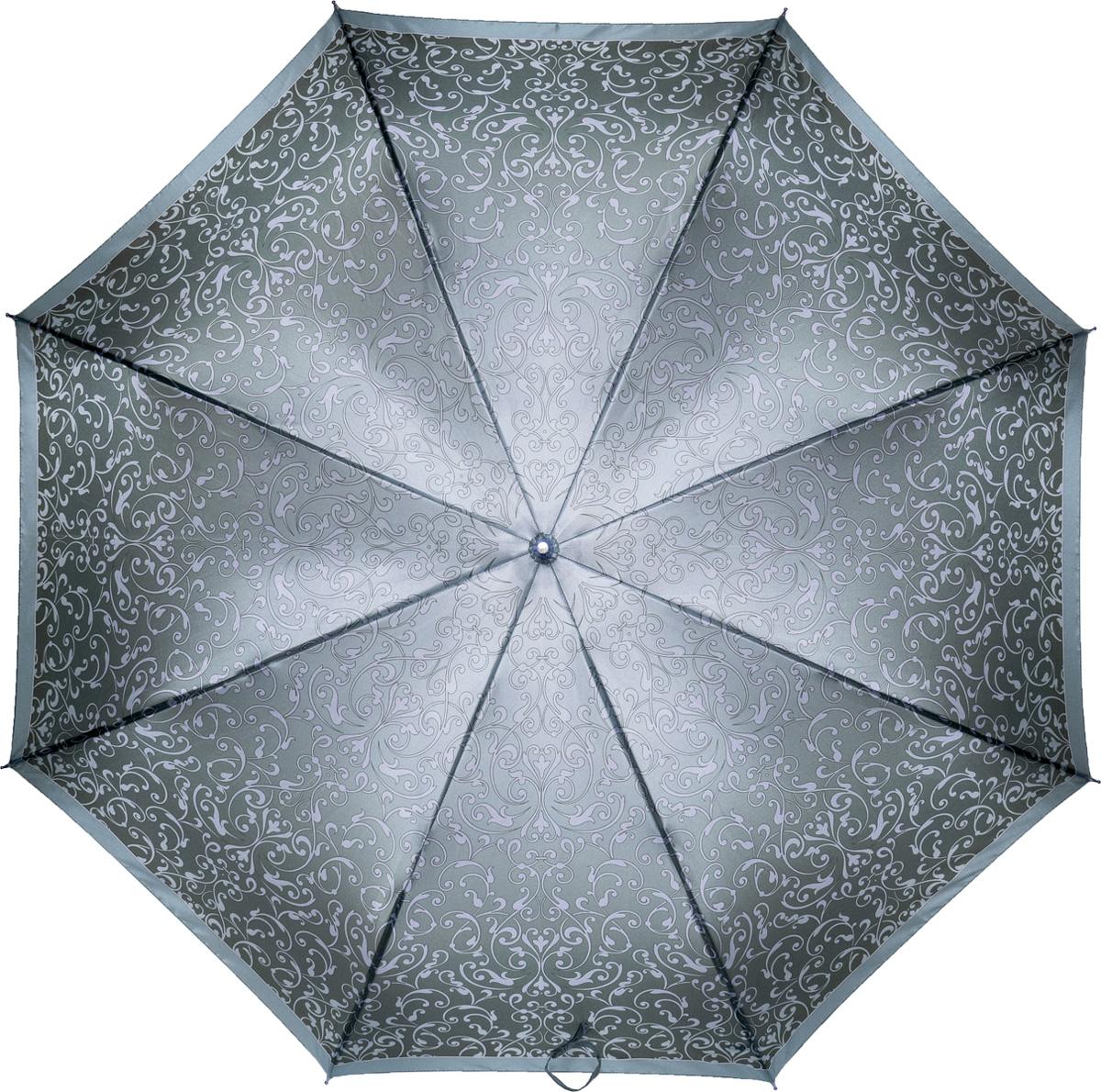 Зонт женский Fabretti, механика, трость, цвет: серый. 16031603Зонт-трость женский Fabrett. Классический зонт-трость с прочным каркасом, сделает ваш образ незабываем и загадочным.