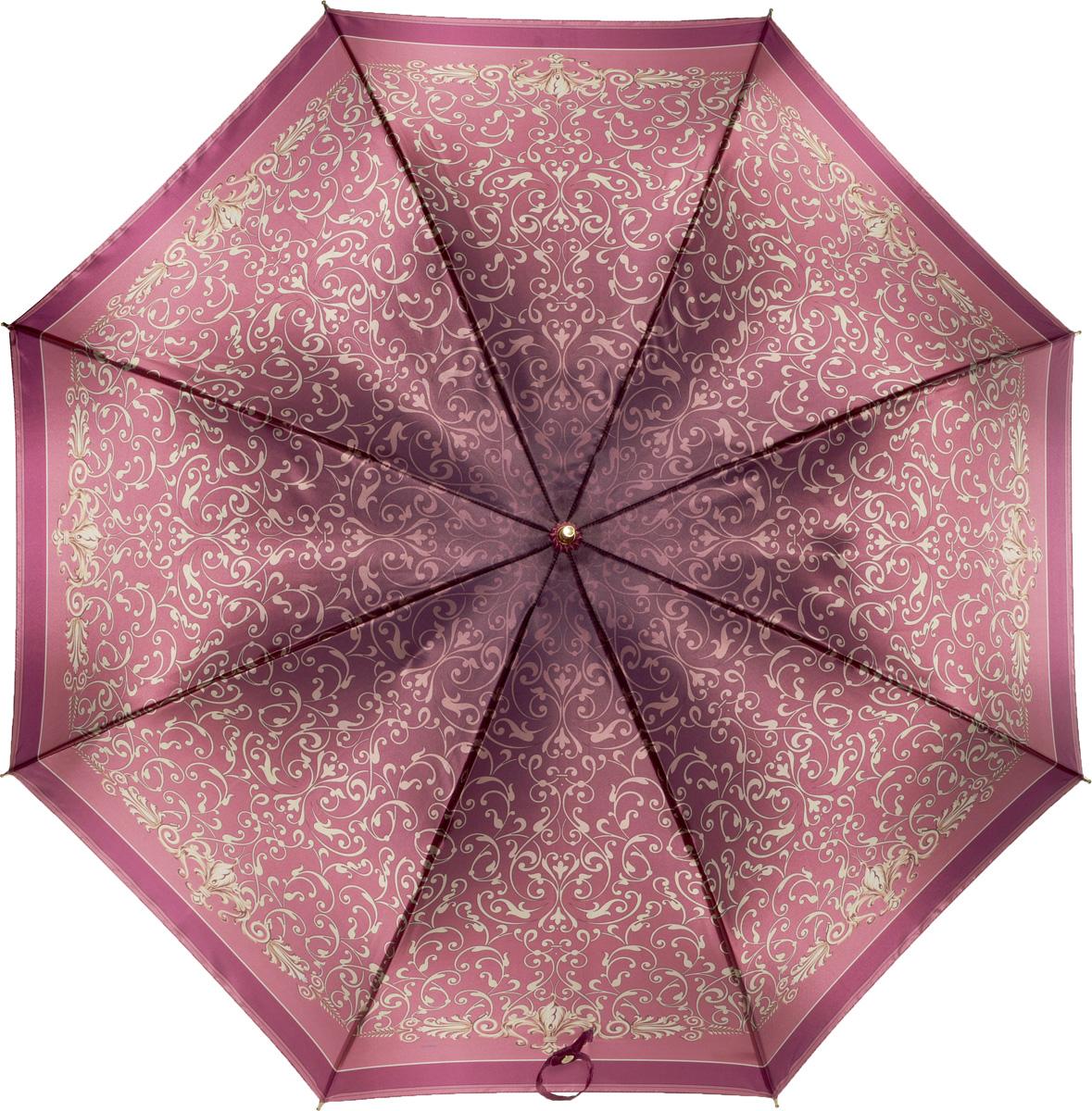 Зонт женский Fabretti, механика, трость, цвет: бордовый. 16061606Зонт-трость женский Fabrett.Элегантный зонт-трость наполнит вашу жизнь яркими красками.