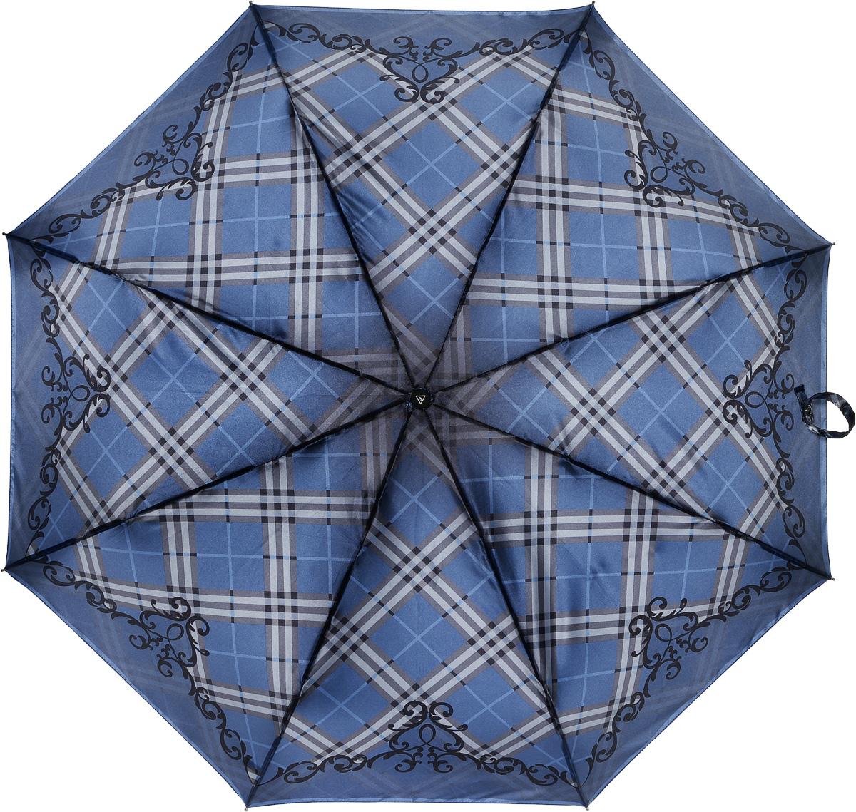 Зонт женский Fabretti, полный автомат, 3 сложения, цвет: синий. S-16101-9S-16101-9Зонт женский Fabretti, суперавтомат, 3 сложения, сатин