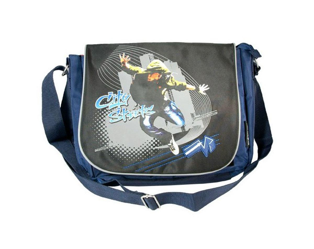 Сумка молодежная Street Dancer, 34 х 28 x 13 см, цвет: синий, черный830568_синий, черныйМолодежная сумка выполненная из прочного материала, в спортивном стиле. Широкие регулируемые лямки. Сумка оснащена отделением для ноутбука.