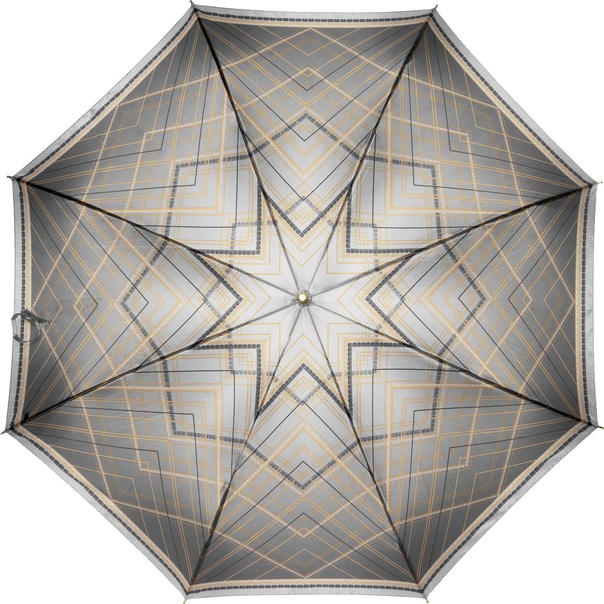 Зонт женский Fabretti, механика, трость, цвет: серый. 16071607Зонт-трость женский Fabrett.Незаменимый аксессуар, который надежно защитит Вас от непогоды и, кроме того, элегантно дополнит Ваш образ.