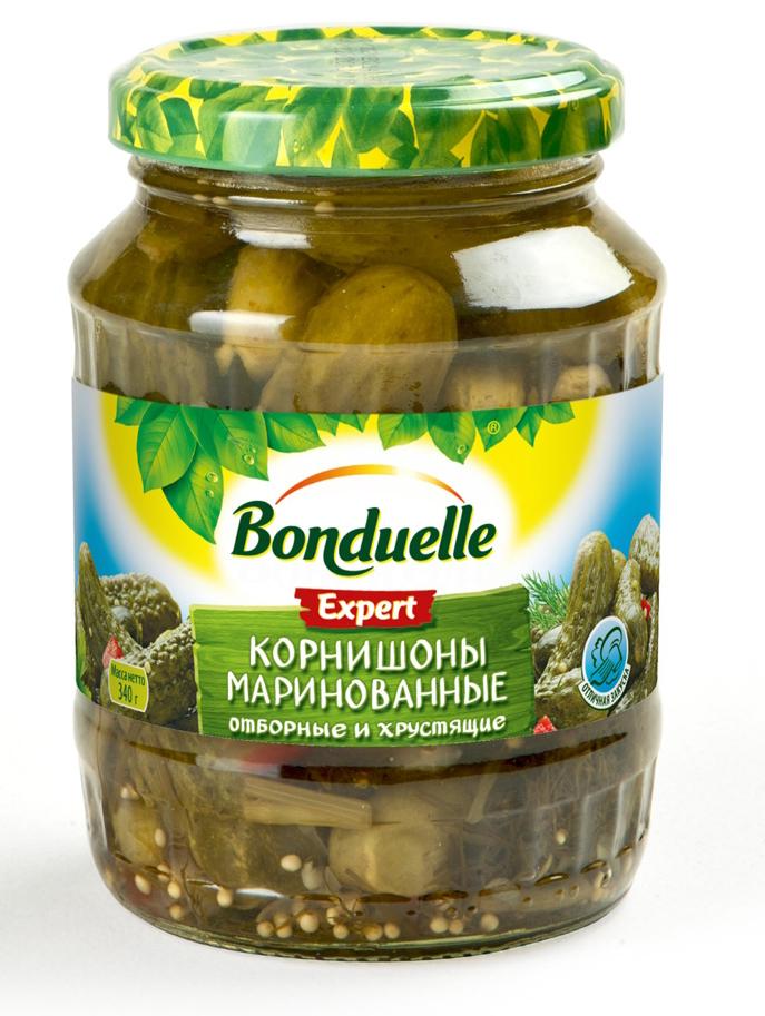 Bonduelle корнишоны маринованные, 340 г3453Традиционная рецептура пряного маринада - кисло-сладкого, сдобренного зернами горчицы и кусочками болгарского перца - добавляет корнишонам Bonduelle особую легкую пикантность, что особенно хорошо, если использовать огурцы как самостоятельную закуску. Уважаемые клиенты! Обращаем ваше внимание, что полный перечень состава продукта представлен на дополнительном изображении.