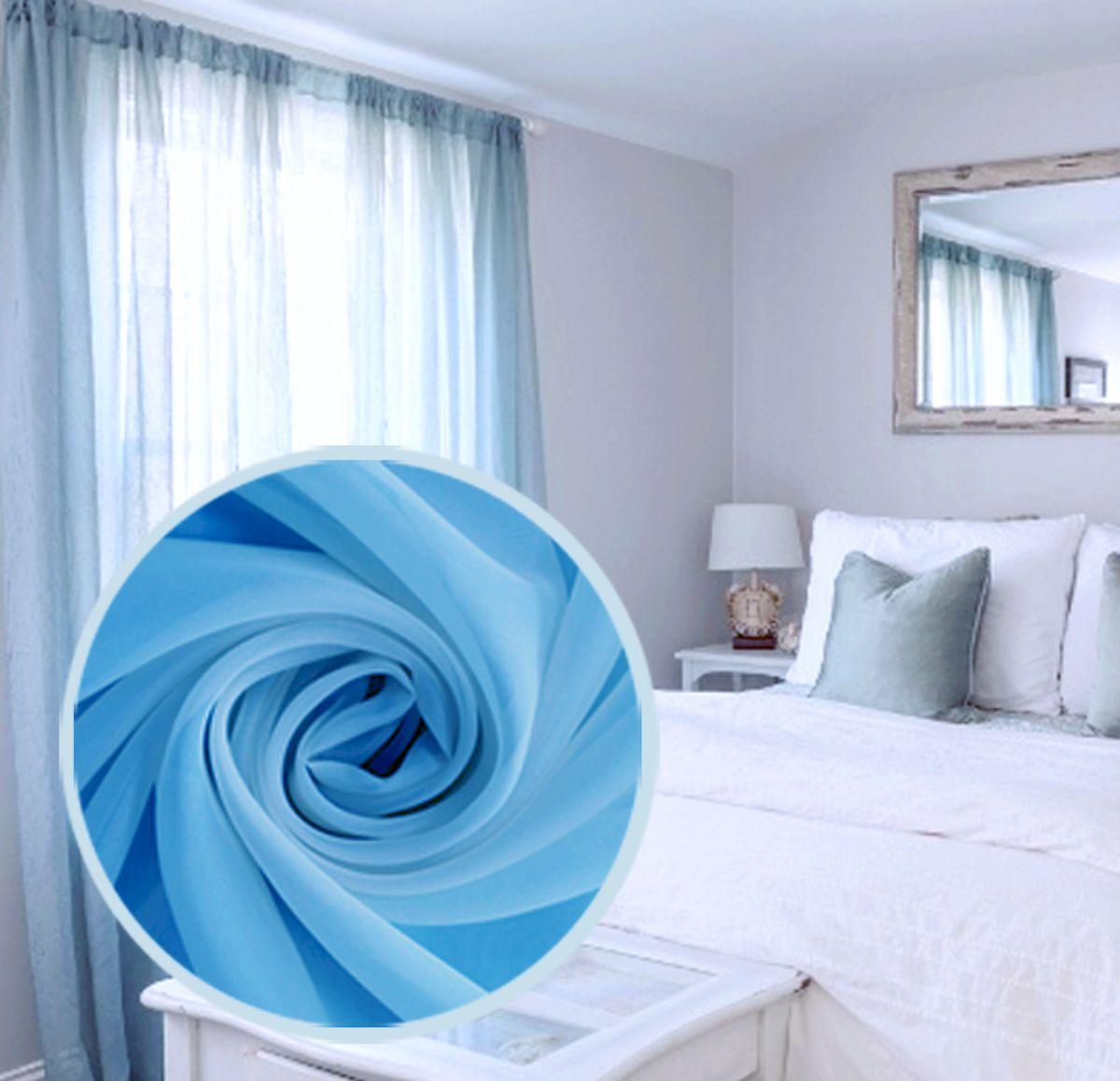 Тюль Amore Mio Однотонная, на ленте, цвет: синий, высота 270 см74652Тюль Amore Mio нежного цвета в классическом однотонном исполнении изготовлен из 100% полиэстера. Воздушная ткань привлечет к себе внимание и идеально оформит интерьер любого помещения. Полиэстер - вид ткани, состоящий из полиэфирных волокон. Ткани из полиэстера легкие, прочные и износостойкие. Такие изделия не требуют специального ухода, не пылятся и почти не мнутся. Крепление к карнизу осуществляется при помощи вшитой шторной ленты.