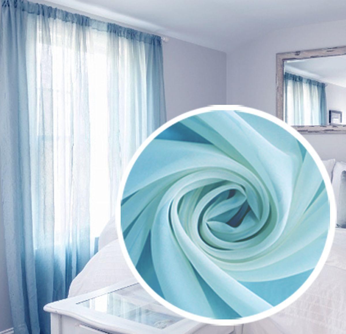 Вуаль Amore Mio Однотонная, 200х270 см, цвет: голубой. 7470574705Полотно тюлевое изготовлено из легкой матовой вуали. Может использоваться как самостоятельный элемент оформления окна. Отлично сочетается с жаккардовыми и печатными портьерами. Полотно на шторной ленте, готово к использованию. В комплект входит: Вуаль 200х270 см