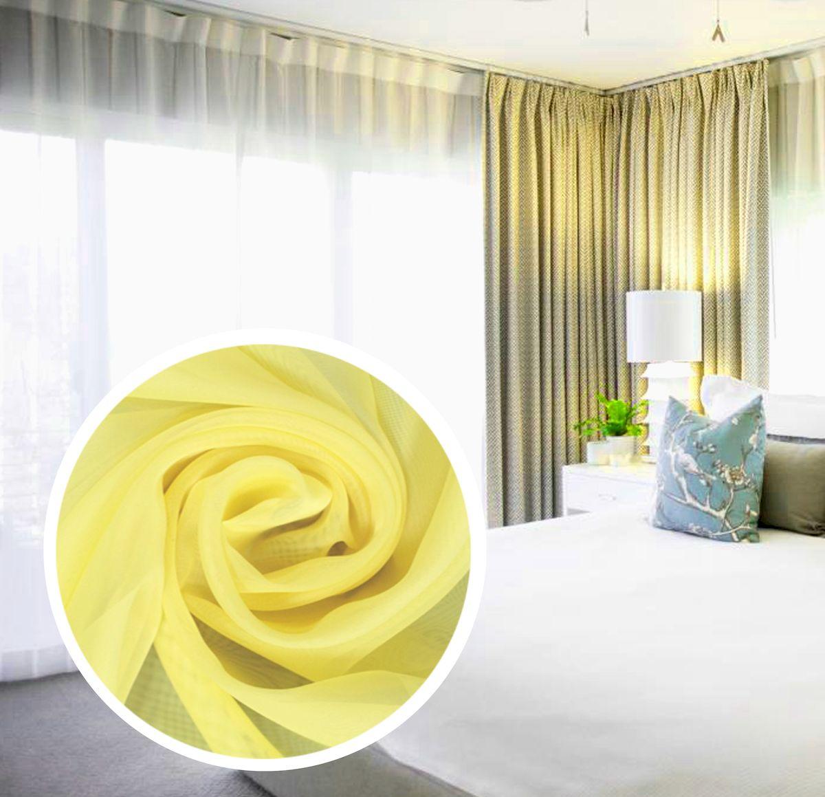 Тюль Amore Mio Однотонная, на ленте, цвет: желтый, высота 270 см75384Тюль Amore Mio нежного цвета в классическом однотонном исполнении изготовлен из 100% полиэстера. Воздушная ткань привлечет к себе внимание и идеально оформит интерьер любого помещения. Полиэстер - вид ткани, состоящий из полиэфирных волокон. Ткани из полиэстера легкие, прочные и износостойкие. Такие изделия не требуют специального ухода, не пылятся и почти не мнутся. Крепление к карнизу осуществляется при помощи вшитой шторной ленты.
