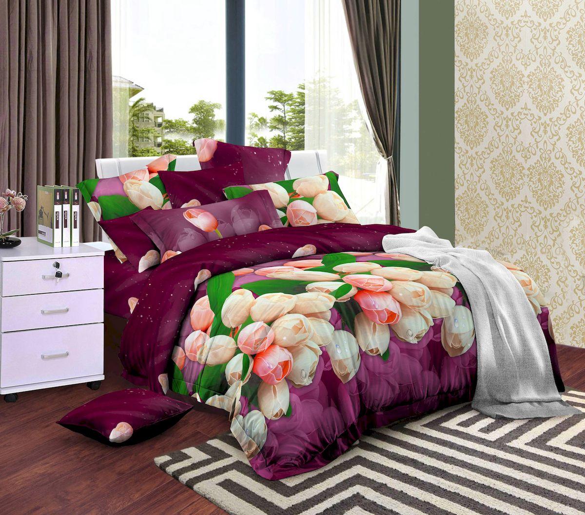 Комплект белья Amore Mio Charm, 1,5-спальный, наволочки 70х70, цвет: сиреневый79258Нежные розовые тюльпаны на насыщенном вишневом фоне! Amore Mio предлагает оценить соотношение цены и качества коллекции. Нано-инновации позволили открыть новую ткань, полученную, в результате высокотехнологического процесса, сочетает в себе широкий спектр отличных потребительских характеристик и невысокой стоимости. Легкая, плотная, мягкая ткань, приятна и практична с эффектом персиковой кожуры. Отлично стирается, гладится, быстро сохнет. Дисперсное крашение, великолепно передает качество рисунков, и необычайно устойчиво к истиранию. Процесс ворсования поверхности придает полотну дополнительную нежность шелка и дарит необычайно сладкую негу тактильных удовольствий. Разнообразие ярких и современных дизайнов прослужат не один год и всегда будут радовать Вас и Ваших близких сочностью красок и красивым рисунком. Мако-сатина - Свежее решение, для уюта на даче или дома, созданное с любовью!