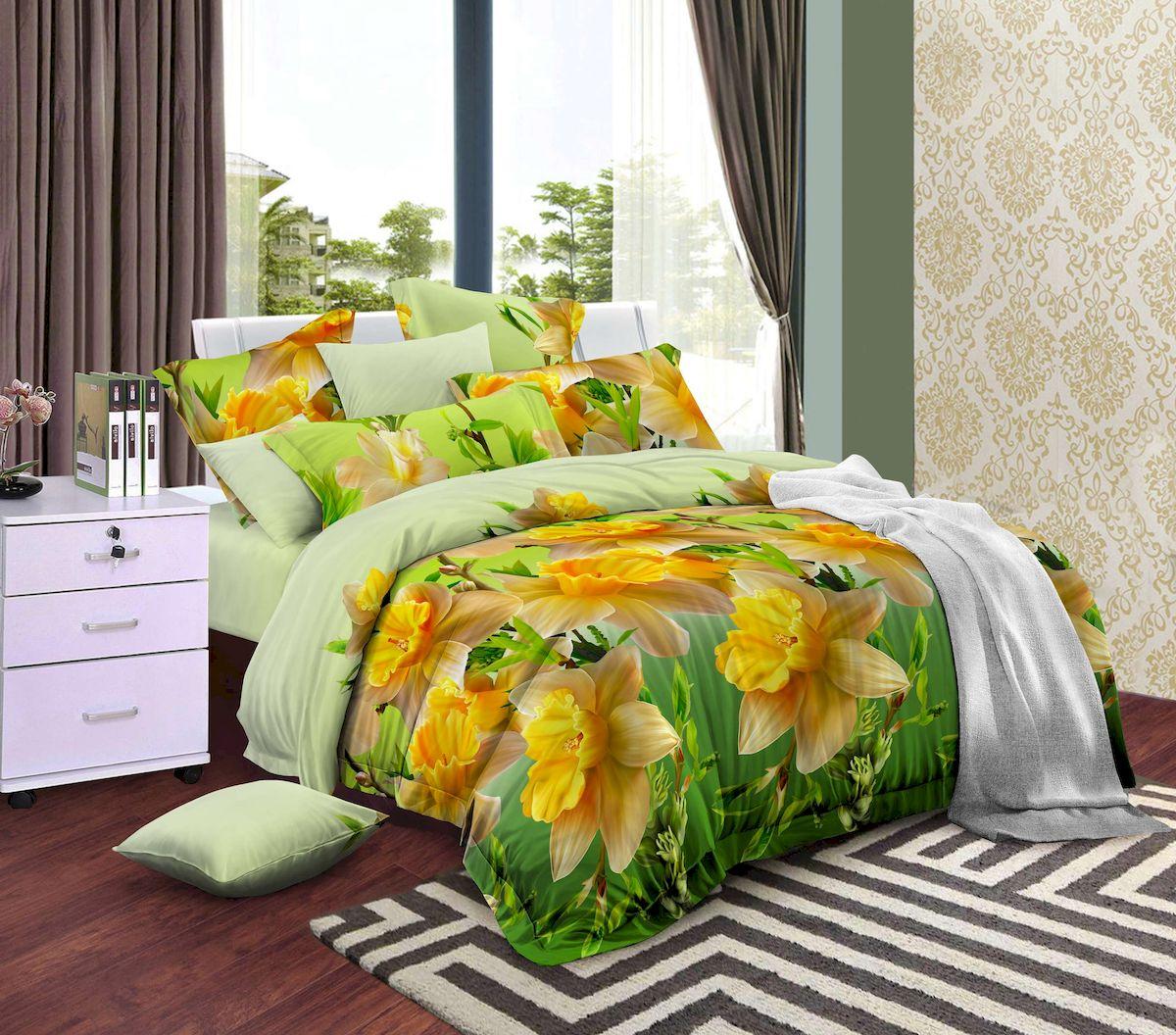 Комплект белья Amore Mio Narcis, 2-спальный, наволочки 70х70, цвет: зеленый79265Весенние нарцисы на насыщенном салатовом фоне! Amore Mio – Комфорт и Уют - Каждый день! Amore Mio предлагает оценить соотношению цены и качества коллекции. Разнообразие ярких и современных дизайнов прослужат не один год и всегда будут радовать Вас и Ваших близких сочностью красок и красивым рисунком. Мако-сатина - Свежее решение, для уюта на даче или дома, созданное с любовью для вашего комфорта и отличного настроения! Нано-инновации позволили открыть новую ткань, полученную, в результате высокотехнологического процесса, сочетает в себе широкий спектр отличных потребительских характеристик и невысокой стоимости. Легкая, плотная, мягкая ткань, приятна и практична с эффектом персиковой кожуры. Отлично стирается, гладится, быстро сохнет. Дисперсное крашение, великолепно передает качество рисунков, и необычайно устойчива к истиранию. Процесс ворсования поверхности придает полотну дополнительную нежность шелка и дарит необычайно сладкую негу тактильных удовольствий.