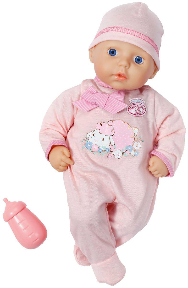 Baby Annabell Пупс в светло-розовом комбинезоне794-449Пупс Baby Annabell порадует вашу малышку и доставит ей много удовольствия от часов, посвященных игре с ним. Пупс с голубыми глазками имеет мягконабивное туловище и выглядит как настоящий ребенок. Он одет в светло-розовый комбинезон, оформленный термоаппликацией в виде спящей овечки, и розовую шапочку. Голова, ручки и ножки пупса поворачиваются. В комплект к пупсу входит бутылочка для кормления. Игра с пупсом разовьет в вашей малышке чувство ответственности и заботы. Порадуйте свою принцессу таким великолепным подарком!
