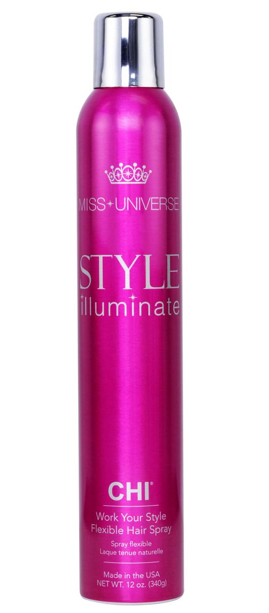CHI Лак для волос средней фиксации Miss Universe 340гCHIMXS12Лак для волос CHI Мисс Вселенная средней фиксации – быстросохнущий легкий фиксирующий лак, который придает объем и текстуру укладке, сохраняя ее подвижной. Также защищает волосы от воздействия влаги и тепла, делая их блестящими как шелк.