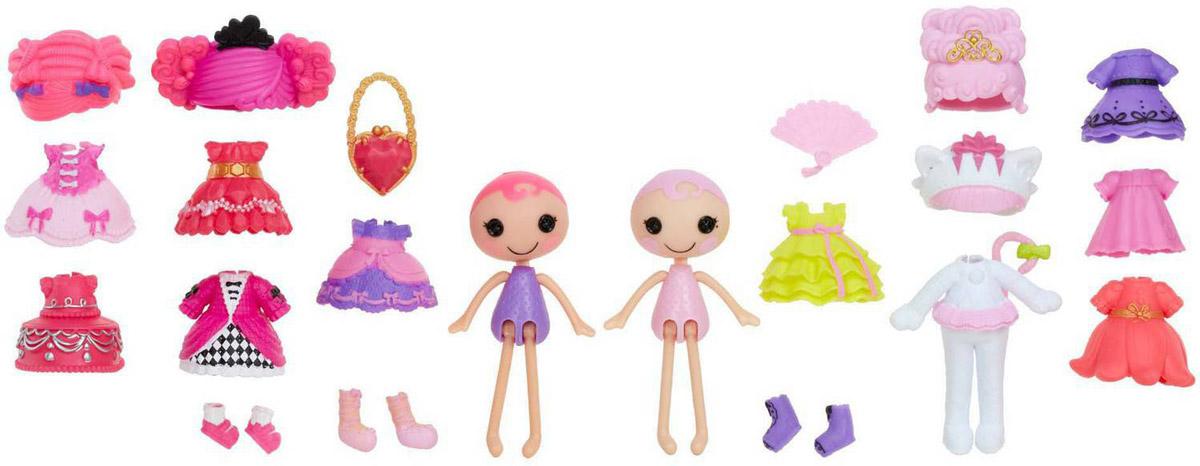 Lalaloopsy Мини-куклы с аксессуарами Confetti Carnivale & Jewel Sparkles539643_Confetti и JewelМини-куклы с аксессуарами Lalaloopsy Confetti Carnivale & Jewel Sparkles обязательно привлечет внимание всех любительниц замечательных маленьких куколок. С помощью этого набора можно менять облик любимых куколок, создавать его по своему усмотрению, меняя не только одежду, обувь и аксессуары, но и прически! В комплект набора входят две куколки и множество разнообразных аксессуаров - наряды, прически, несколько пар обуви и другие забавные и симпатичные мелочи для создания уникального образа вашей любимой куклы. Набор выполнен из качественных и безопасных материалов. Создавайте яркие неповторимые образы любимых кукол, фантазируйте, развивайте воображение, играйте!