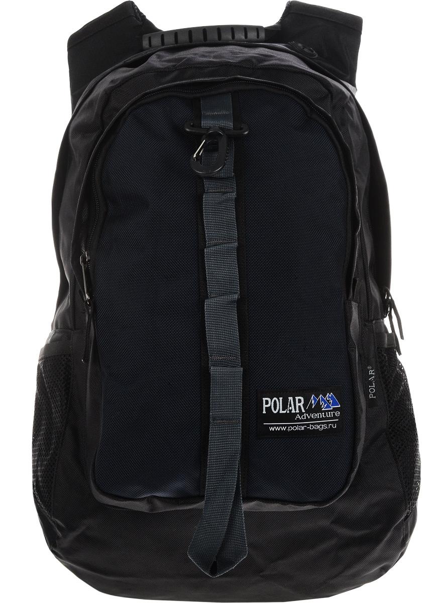 Рюкзак городской Polar, цвет: черный, темно-синий, 41 лП919-04Стильный городской рюкзак Polar очень функционален и практичен. Рюкзак имеет одно отделение, закрывающееся на молнию двумя бегунками. Передний внешний карман оснащен 4 накладными карманами и 1 врезным карманом на молнии. По бокам имеются 2 сетчатых кармана под бутылку воды и 2 накладных кармана для телефона, mp3, CD плеера. Изделие снабжено карабином для подвешивания ранца. Спинка рюкзака полностью вентилируемая, удобная и мягкая. Эргономичные плечевые лямки регулируются по длине, также имеются поясная и грудная лямки, которые создают дополнительный комфорт при носке. Такой рюкзак станет вашим незаменимым спутником, куда бы вы не отправились.