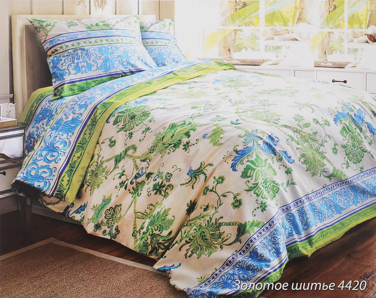 Комплект белья Блакiт Золотое шитье, 2-спальный, наволочки 50х70, цвет: светло-желтый, зеленый, голубой35164420Комплект постельного белья Блакiт Золотое шитье является экологически безопасным для всей семьи, так как выполнен из бязи (100% хлопок). Комплект состоит из пододеяльника, простыни и двух наволочек. Постельное белье оформлено оригинальным рисунком и имеет изысканный внешний вид. Бязь - это ткань полотняного переплетения, изготовленная чистого и натурального 100% хлопка. Она прочная, мягкая, обладает низкой сминаемостью, легко стирается и хорошо гладится. Бязь прекрасно пропускает воздух и за ней легко ухаживать. При соблюдении рекомендуемых условий стирки, сушки и глажения ткань имеет усадку по ГОСТу, сохранятся яркость текстильных рисунков. Приобретая комплект постельного белья Блакiт Золотое шитье, вы можете быть уверенны в том, что покупка доставит вам и вашим близким удовольствие и подарит максимальный комфорт.