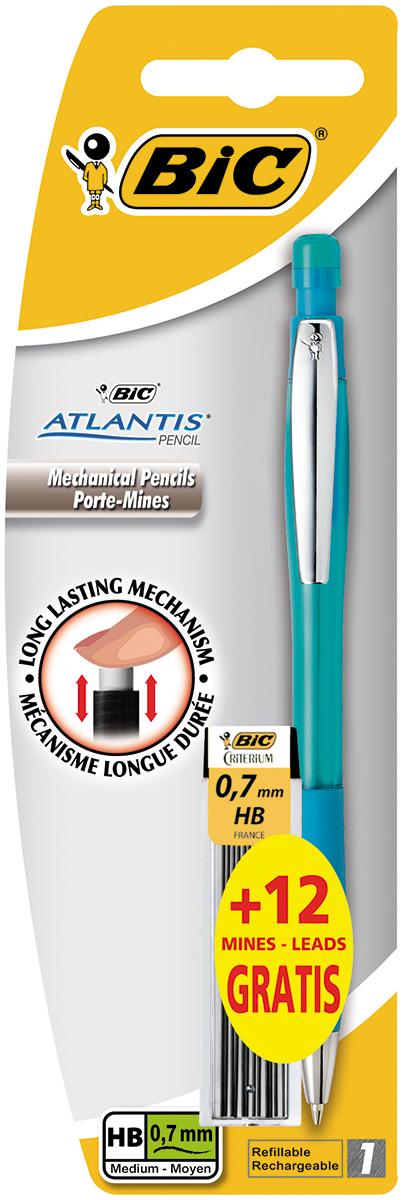 Bic Карандаш механический Atlantis со сменными грифелями цвет корпуса бирюзовыйB8208002Механический карандаш Bic Atlantis будет вашим незаменимым помощников в школе, офисе и дома. Благодаря выдвижному пишущему узлу карандаш не пачкается. Прорезиненный грип исключает скольжение пальцев во время письма, обеспечивая комфорт. Специальный ластик для графита встроен в кнопку карандаша. В комплект также входит контейнер с 12 запасными грифелями.