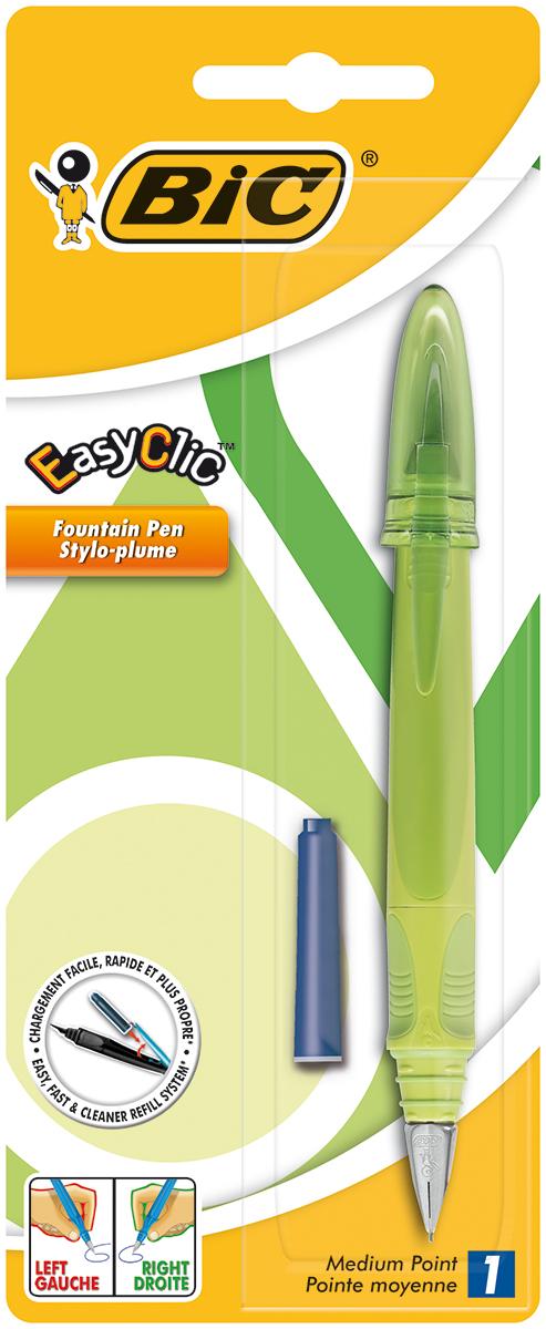 Bic Ручка перьевая Easy Click Classic цвет корпуса салатовыйB8479004Перьевая ручка Bic Easy Click Classic с пишущим узлом средней толщины. Ручка снабжена инновационной удобной системой замены картриджа (стандартного). Стальной ирридиевый пишущий узел позволяет чертить линии толщиной 0,5 мм.